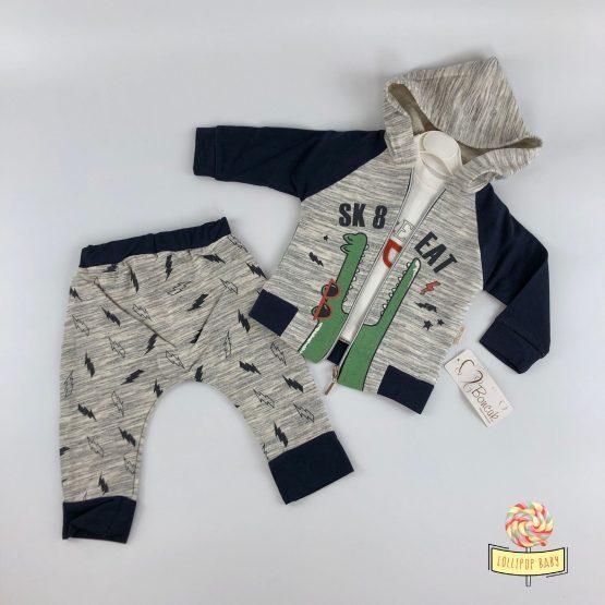 Trodelni kompletić za dečake – teget/siva kombinacija