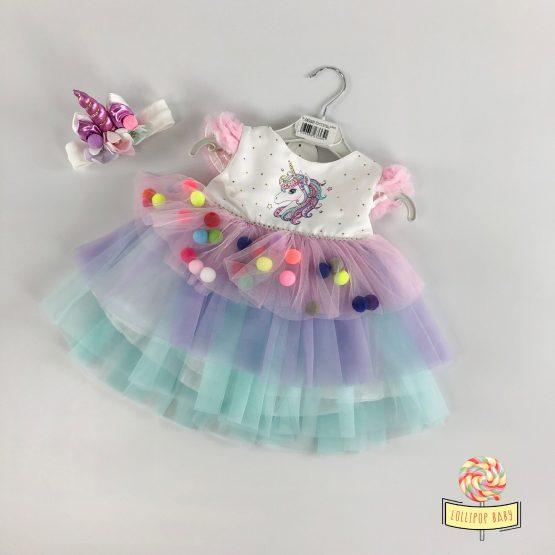 Jednorog haljinica sa trakom za kosu