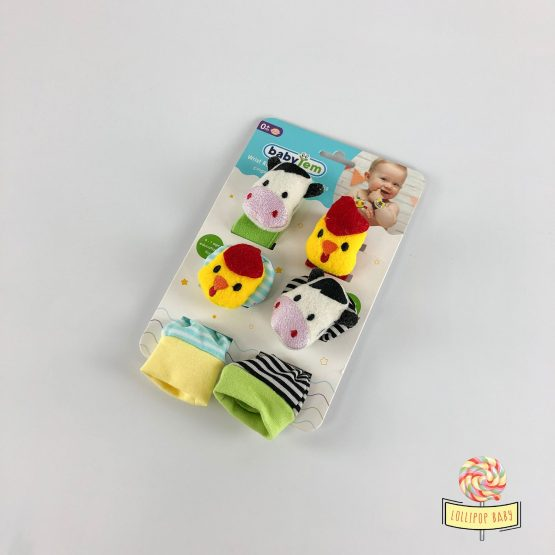 Zveckave čarapice i narukvice u setu – pile i kravica