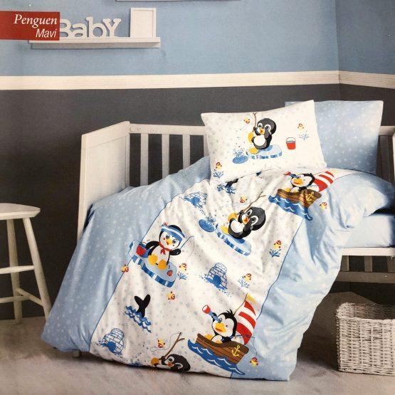 Posteljina za krevetac – plavi pingvin