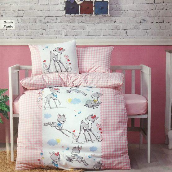 Posteljina za krevetac – roze bambi