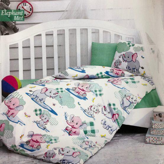 Posteljina za bebin krevetac – Slonići