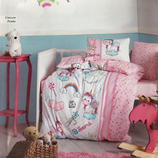 Posteljina za krevetac – roze jednorog