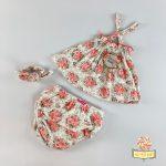 Cvetni komplet, tunika, gaćice za odvikavanje od pelena i traka za kosu.