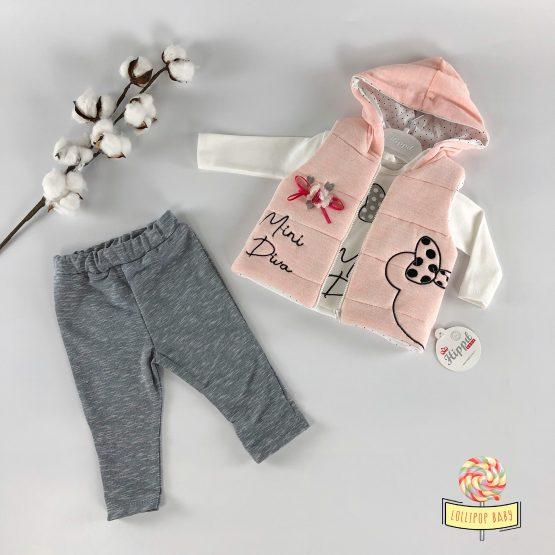 Trodelni kompletić sa prslukom za bebe - Mini Diva