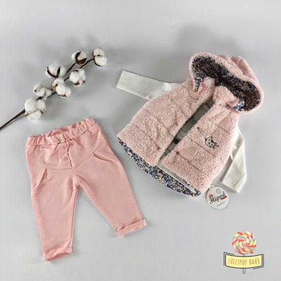 Trodelni kompletić sa čupavim prslukom za bebe
