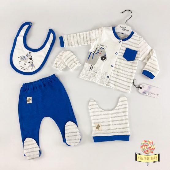 """Set za novorođenče """"Zebra"""" AnnaBabba – plavi"""