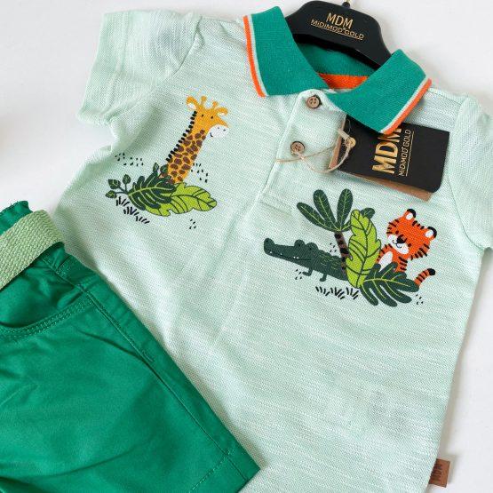 """Letnji zeleni komplet za bebe """"Safari"""""""