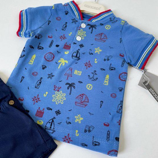 Mornarski plavi kompletić za bebe dečake