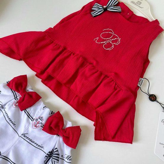 Dvodelni kompletić za devojčice Bebemania (crveni)