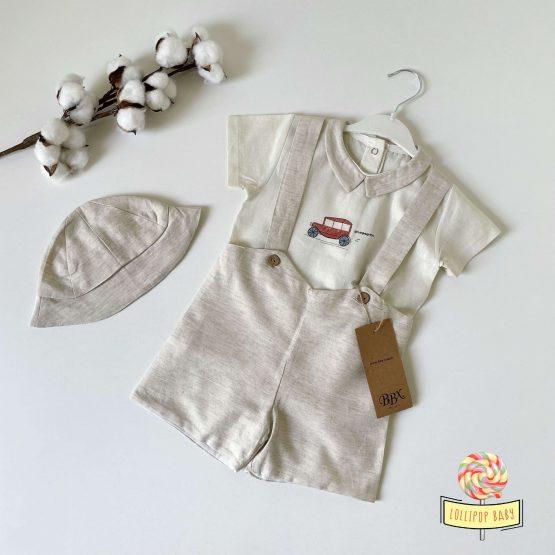 Laneni trodelni komplet za bebe dečake