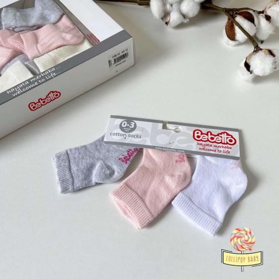 Čarapice za bebe 0-3 meseca 3pcs Bebetto