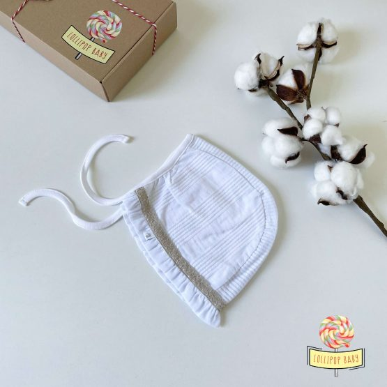 Pamučna bela kapa na vezivanje Caramell