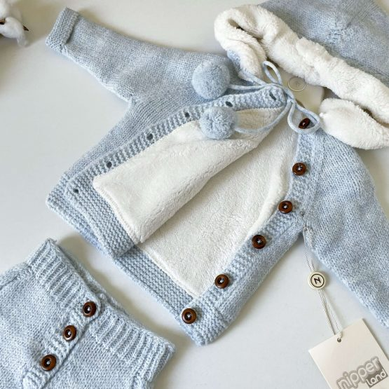 Knit komplet sa futrovanim džemperićem NipperLand (plavi)