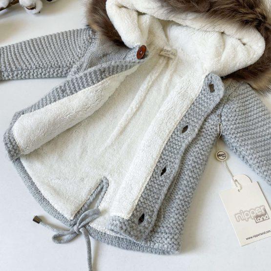 Vunena jaknica sa kapuljačom NipperLand (siva)