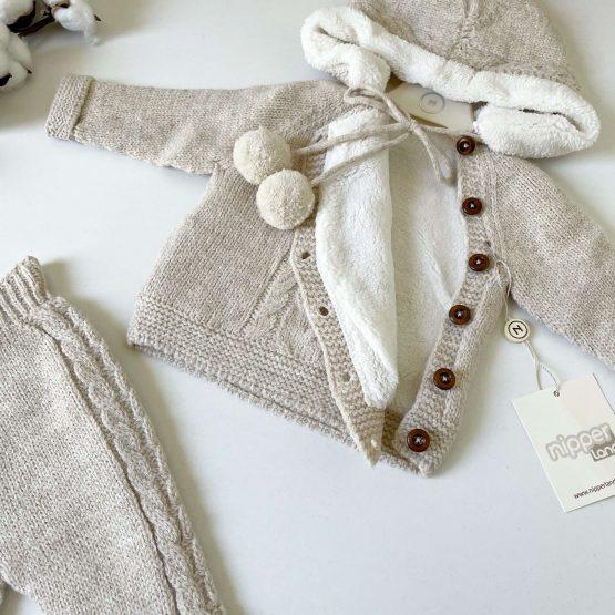 Knit komplet sa futrovanim džemperićem NipperLand (bež)