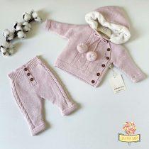 Knit komplet sa futrovanim džemperićem NipperLand (roze)
