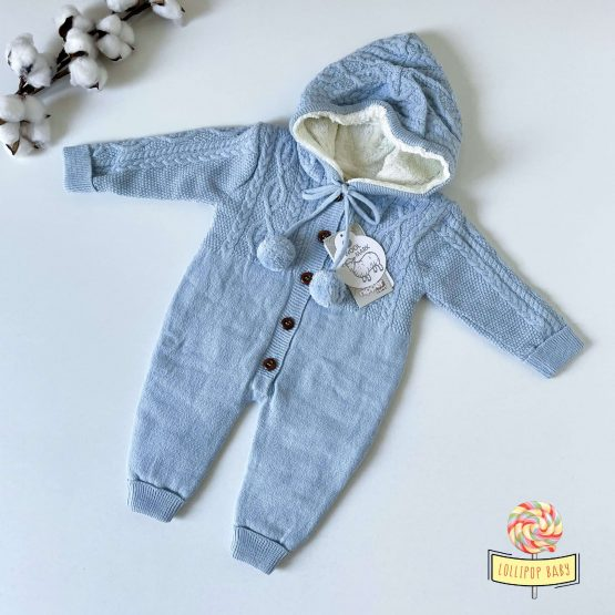 Knit futrovani skafander za bebe NipperLand (plavi)