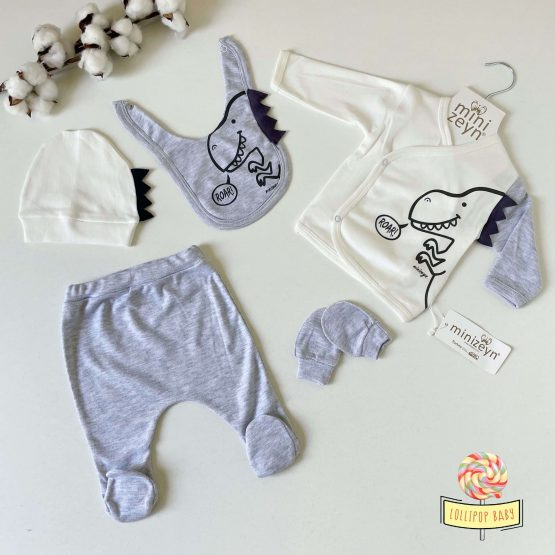 "Set za novorođenče Minizeyn ""Roar"" (sivi)"
