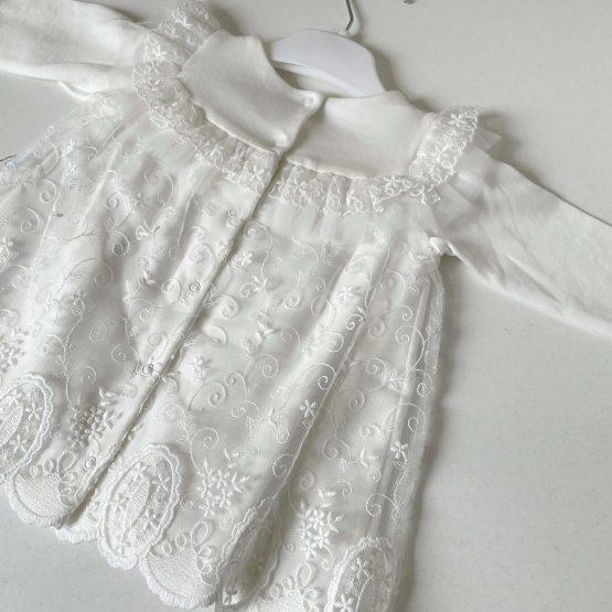 Pamučna svečana haljinica Caramell (bela)