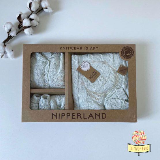 "Knit set za bebe NipperLand ""Baby"" (mint)"